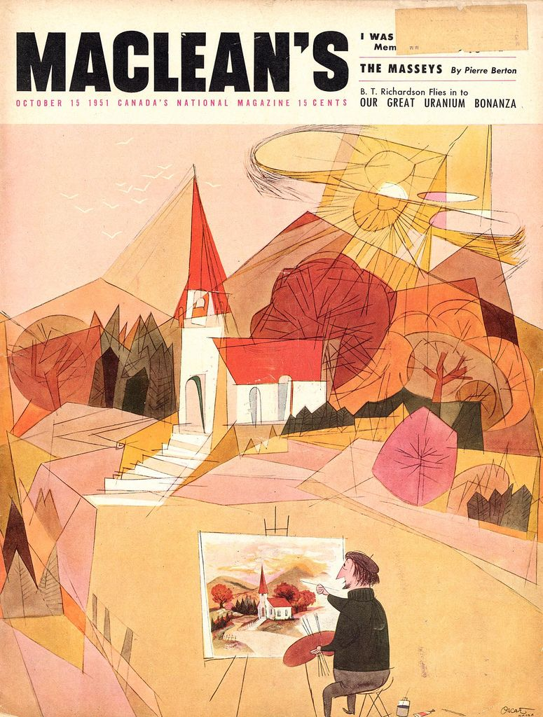 Maclean S Magazine Canada Illustrated By Oscar Cahen October 1951 Illustration Magazine Illustration Editorial Illustration