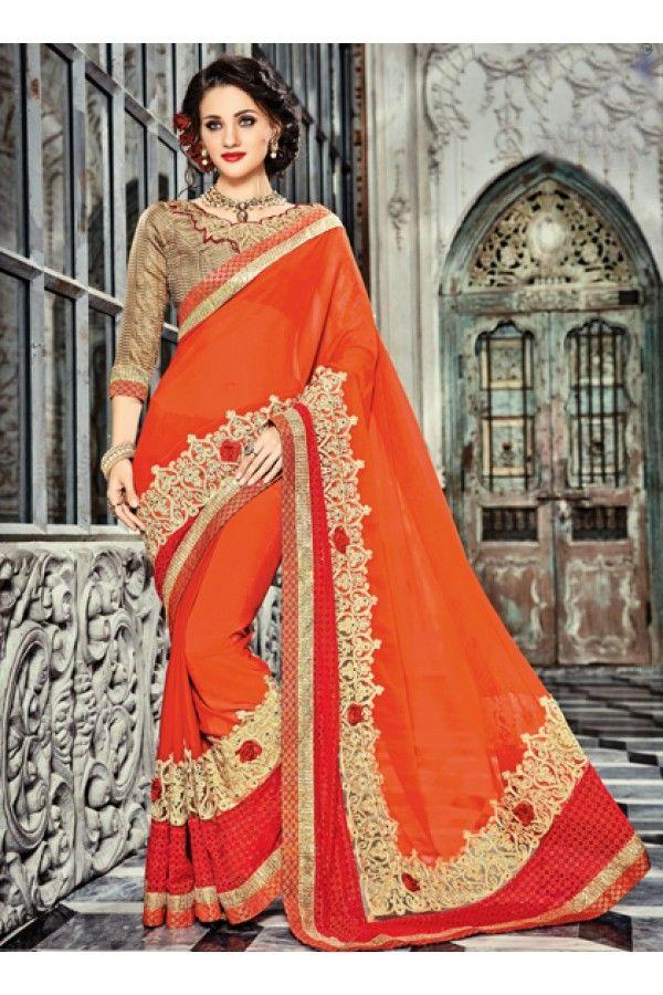 Designer Orange Georgette Saree - 18025 | Saree, Georgette ...