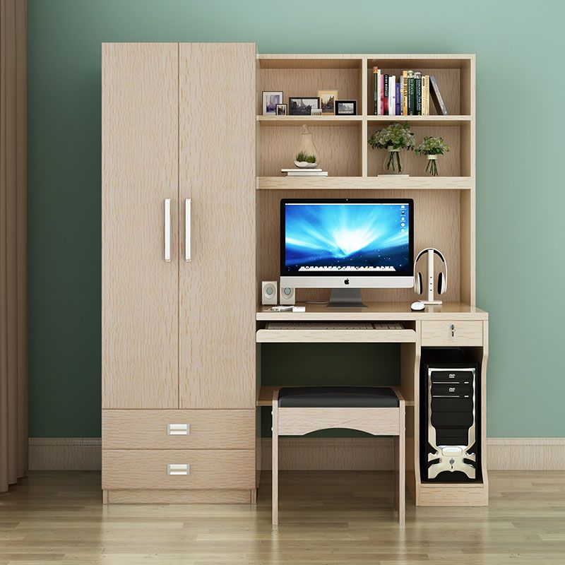 Table Desktop Home Computer Desk Combination Bookcase Wardrobe Double Door One Study In Compu Office Table Design Computer Table Design Computer Desks For Home