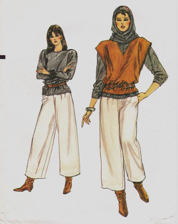 70s Very Easy Vogue Sewing Pattern 8526 Womens Top, Gaucho Pants ...