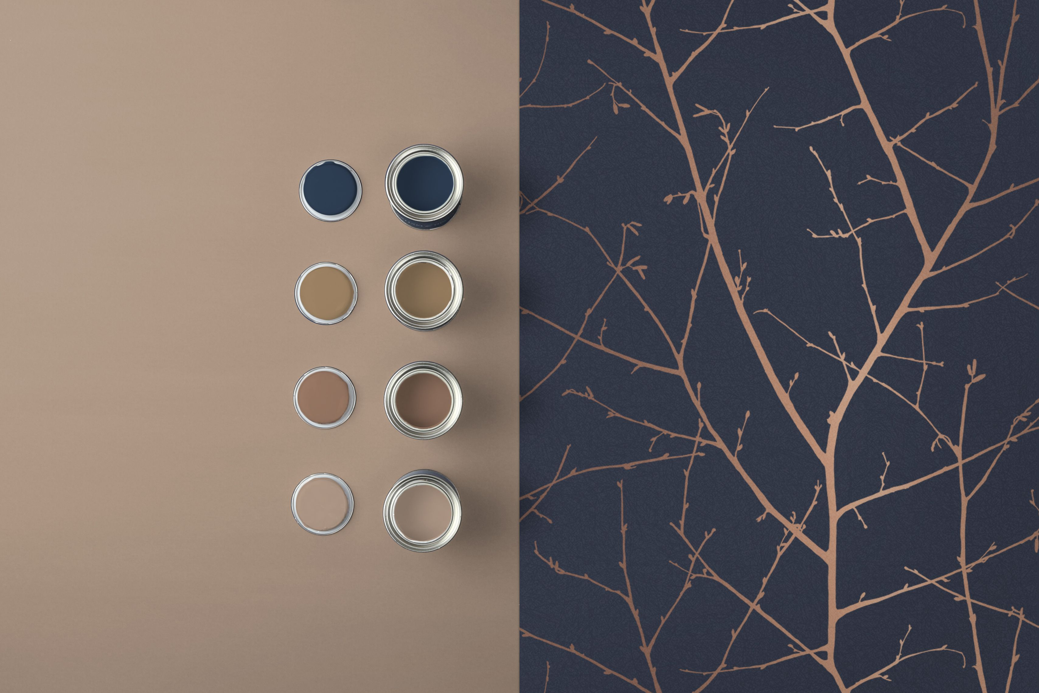 Boreas Midnight Navy And Rose Gold Metallic Wallpaper 50 Gold Metallic Wallpaper Copper Colour Palette Color Palette Living Room