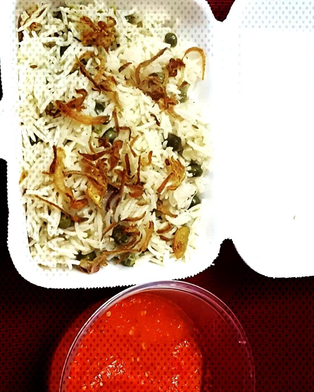 Muttar pulao with Tomato Chuttni For order plz inbox