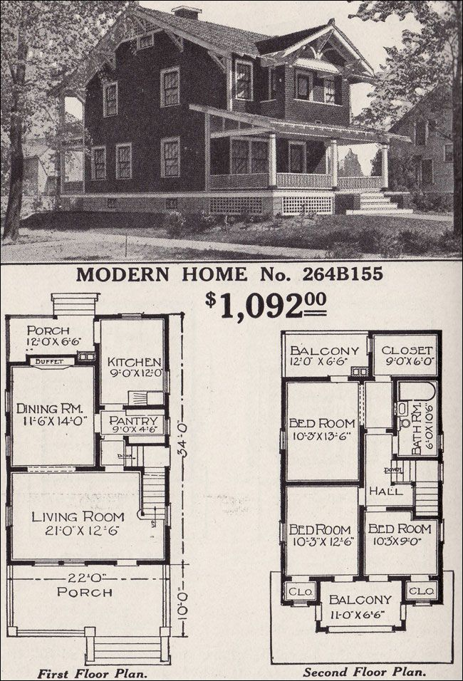 Modern Home 264b155 Two Story Craftsman Style Bungalow 1916 Sears House Plans Craftsman Style Bungalow Vintage House Plans How To Plan