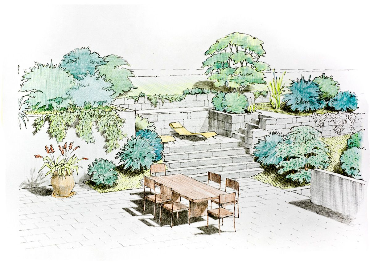How to sketch a garden plan google zoeken designer for Garden design sketches