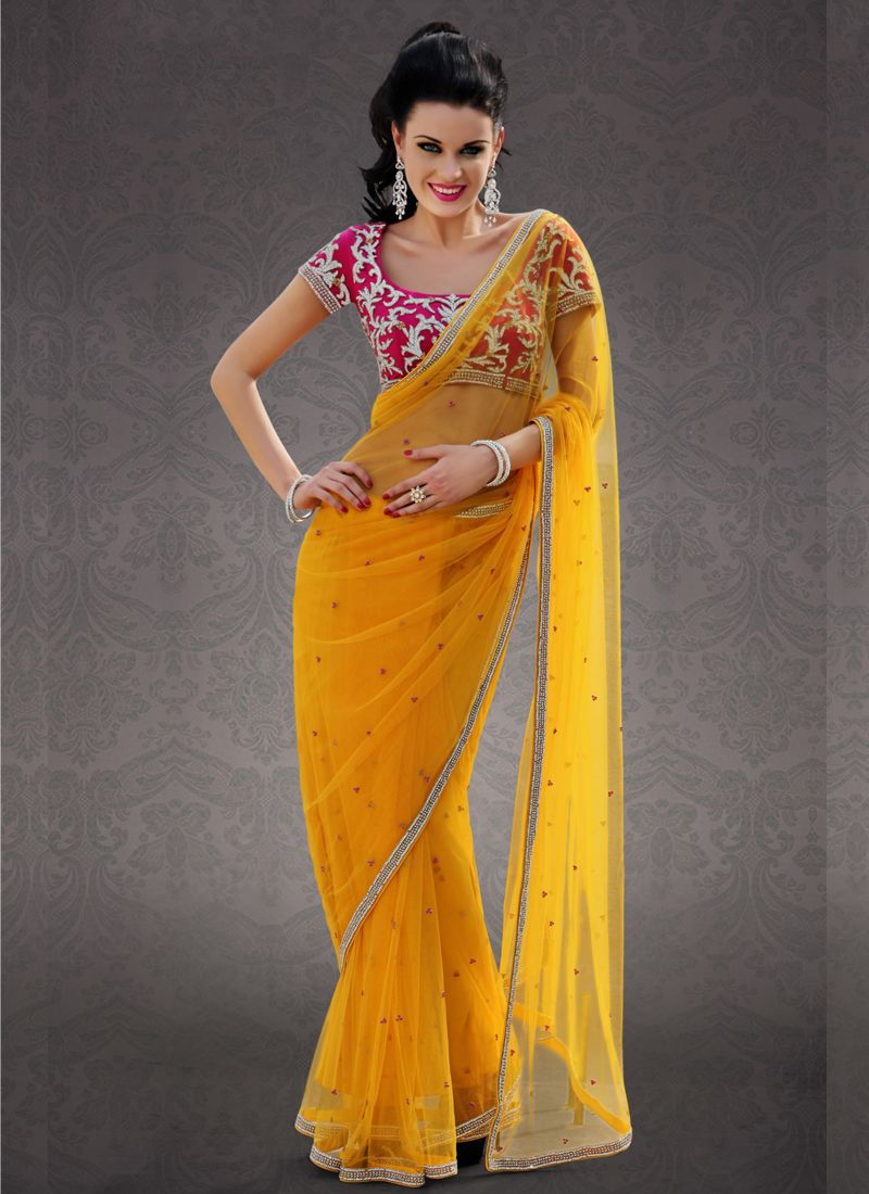 4f6c2b05517835 Rich Golden Yellow #Net Saree | Bollywood saree | Saree, Saree dress ...