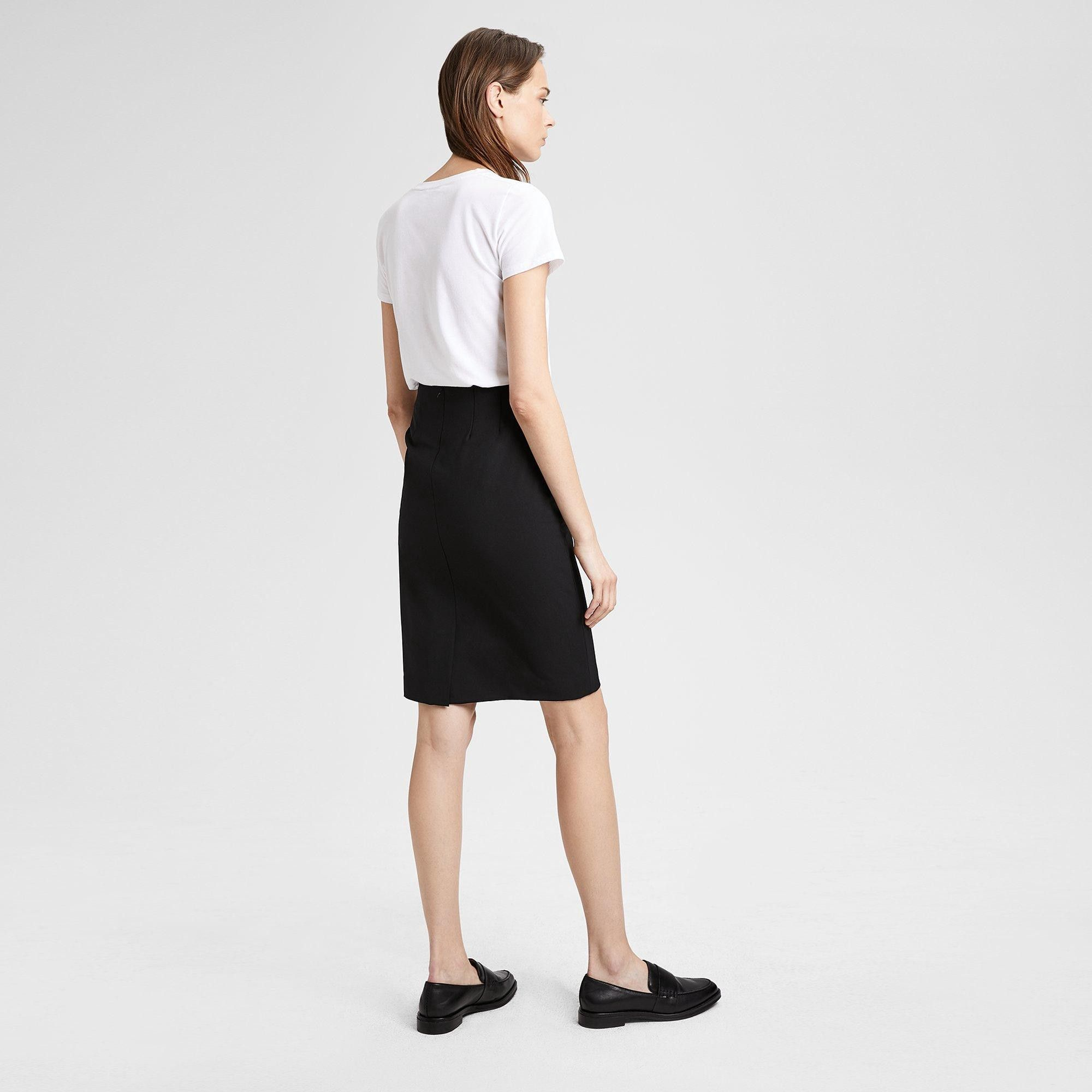 5e96cabf8 Theory Stretch Wool Pencil Skirt - Charcoal Deep Navy 00 | Products ...