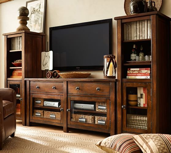 Benchwright Media Suite With Towers Pottery Barn Furnitures - Pottery barn tv table