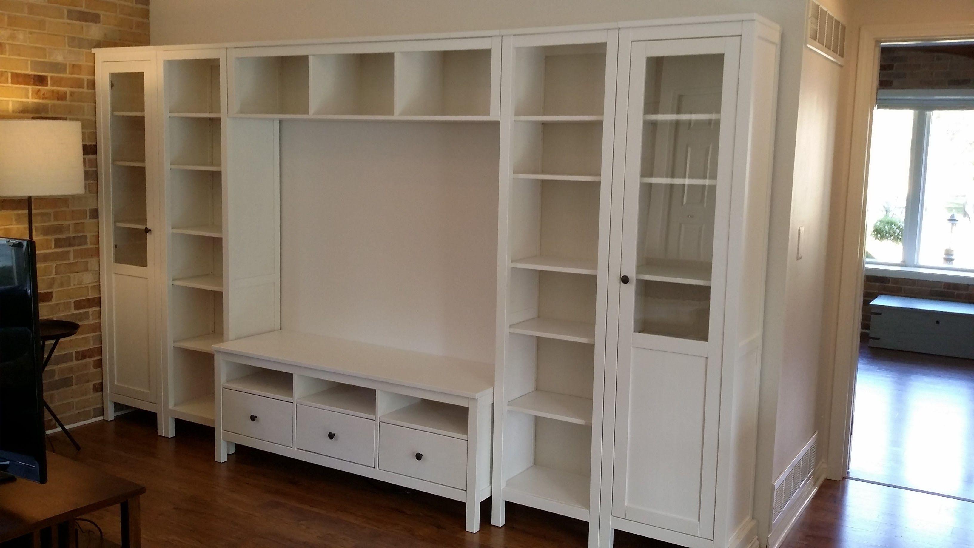 2 ikea hemnes cabinets with panelglass door 1 on each