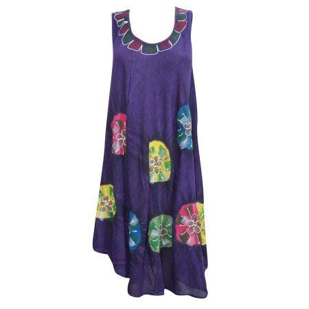 Mogul Women's Tank Dress Floral Print Sleeveless Purple Relaxed Beach Cover Up M  https://www.walmart.com/search/?grid=true&query=MOGUL+INTERIOR+DRESS#searchProductResult