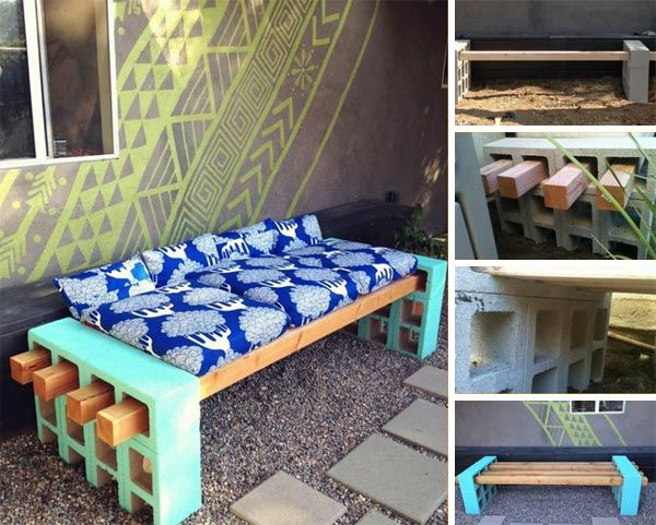 pinterest benches. Cinderblock and Wood Bench  GARDEN OUTSIDE Pinterest