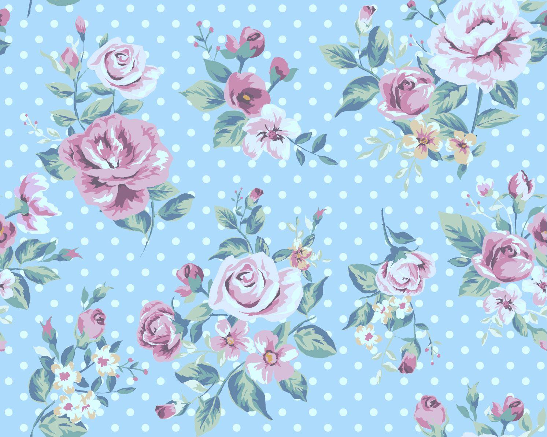 Vintage Blue Tint Rose Seamless Background Vintage Flowers