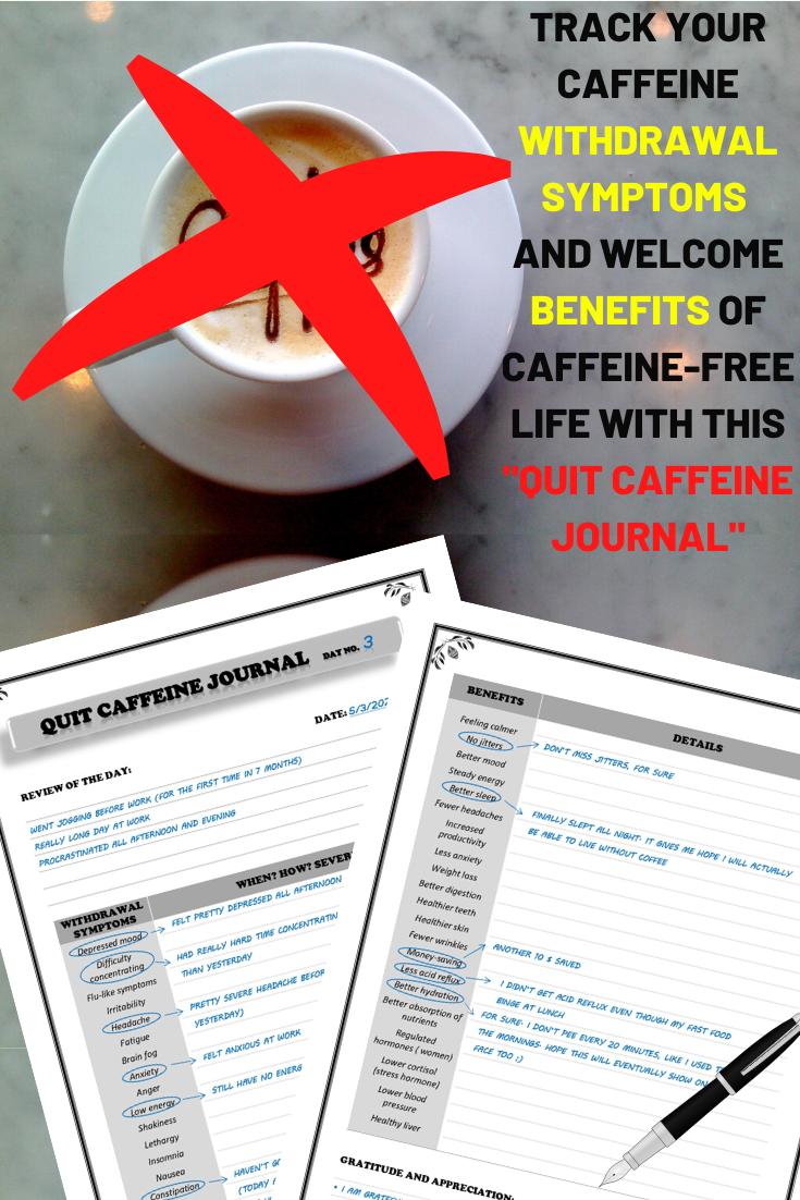 Quit Caffeine Journal Black Quitting Caffeine Caffeine Withdrawal Caffeine Withdrawal Symptoms