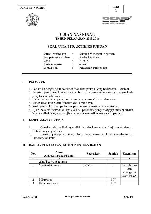 Paket Dokumen Negara 1 Ujian Nasional Tahun Pelajaran 2013 2014 Soal Ujian Praktik Kejuruan Satuan Pendidikan Kompeten Sheet Music Music