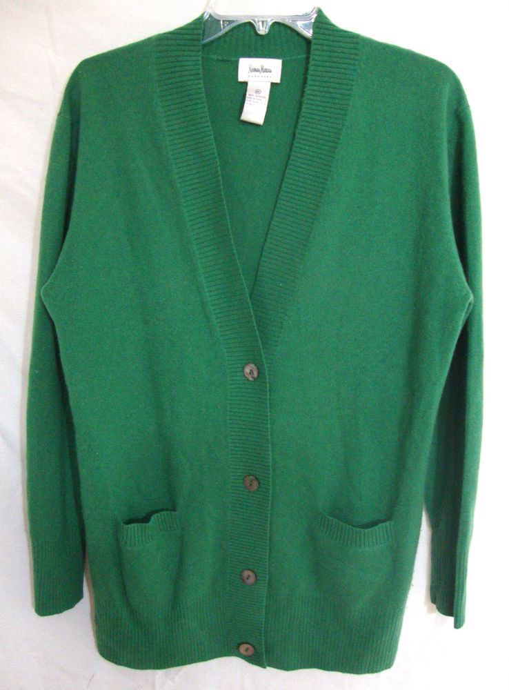 100% Cashmere Cardigan Sweater Green Neiman Marcus Long Sleeve Button Women XL #NeimanMarcus #Cardigan
