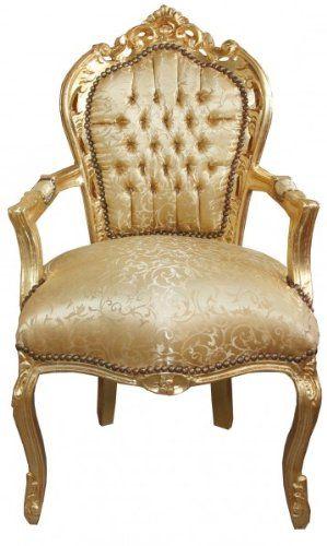 Padrino Casa Chaise De Table Dore Motif Baroque Dore Avec Accoudoirs Style Antique Baroque Meubles Amazon Fr Table Et Chaises Mobilier De Salon Meuble Baroque
