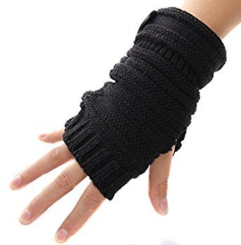 Women Ladies Mittens Fingerless Crochet Knitted Wool Winter Warm Gloves