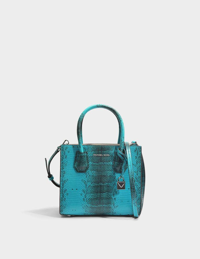 Mercer Medium Messenger Bag in Tile Blue Python Embossed Calfskin Michael Michael Kors