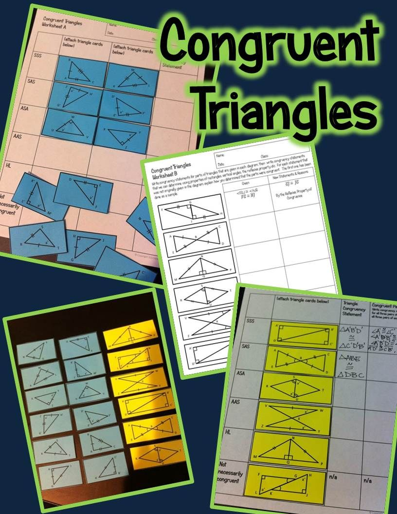 Congruent Triangles Activity SSS, SAS, ASA, AAS, and HL