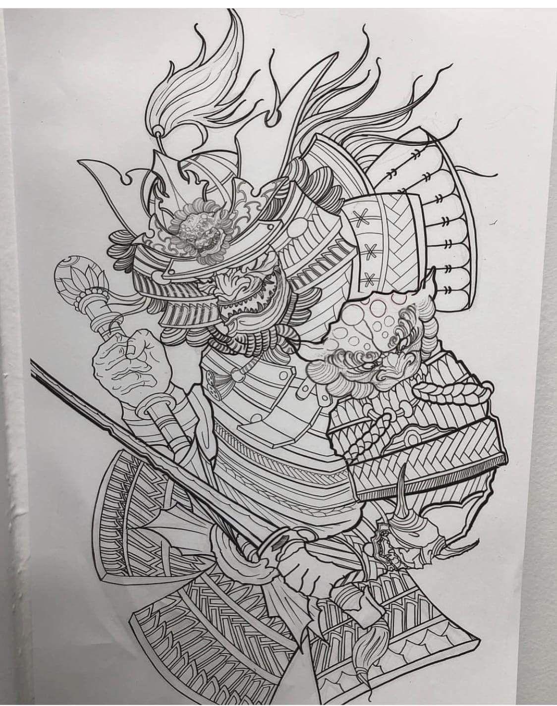 картинка самурая для тату