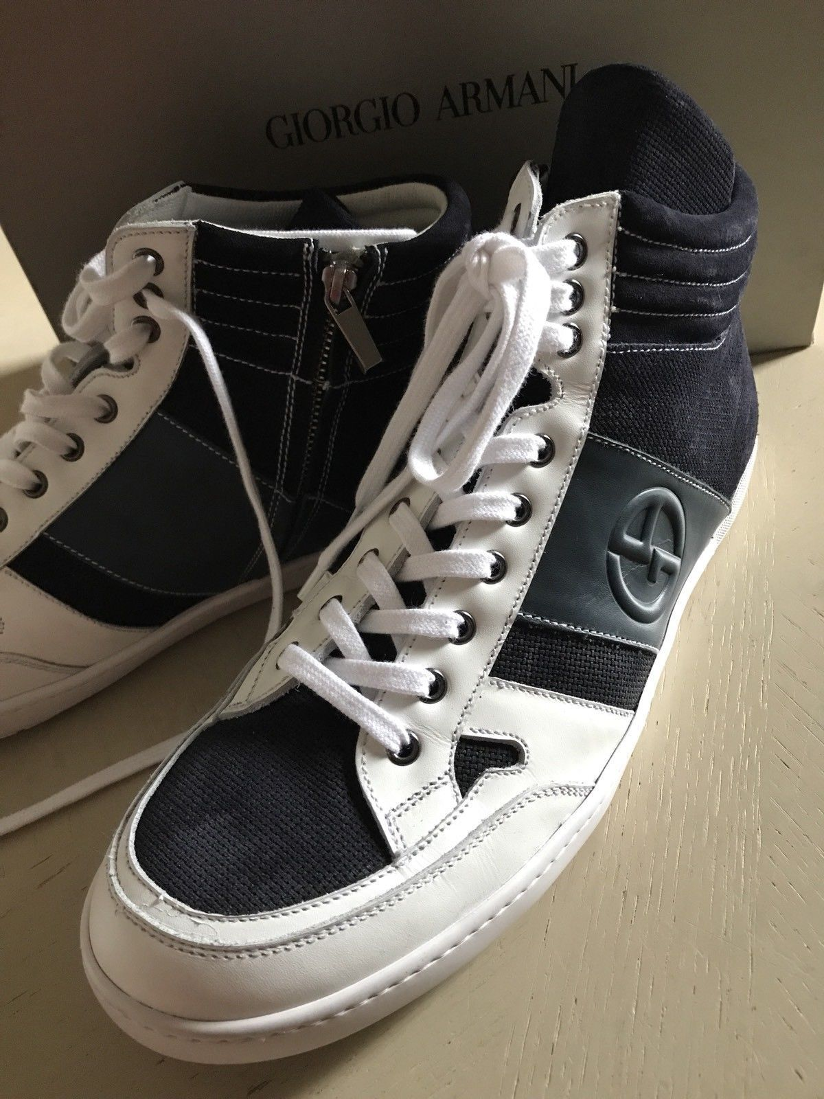 31ac6719 New $795 Giorgio Armani Mens Leather High Top Sneakers Black/White 12 US  X2Z005