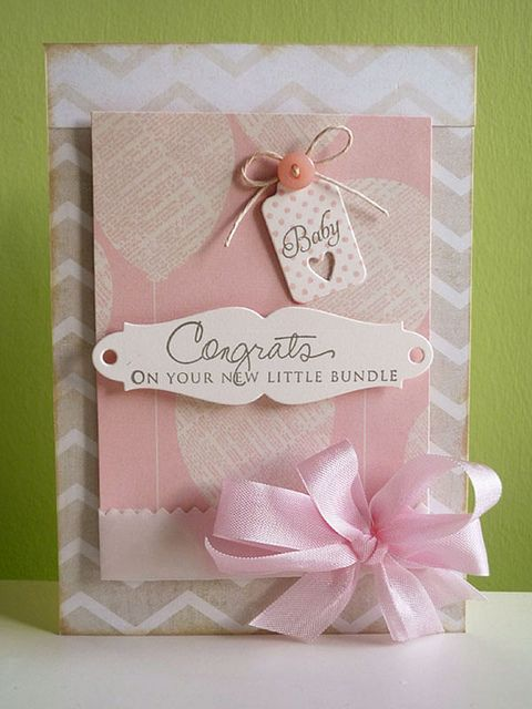 Baby girl card bread tie congratulations baby Card Making