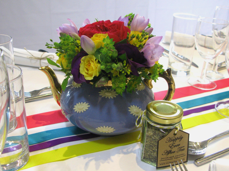 Flower filled teapots!