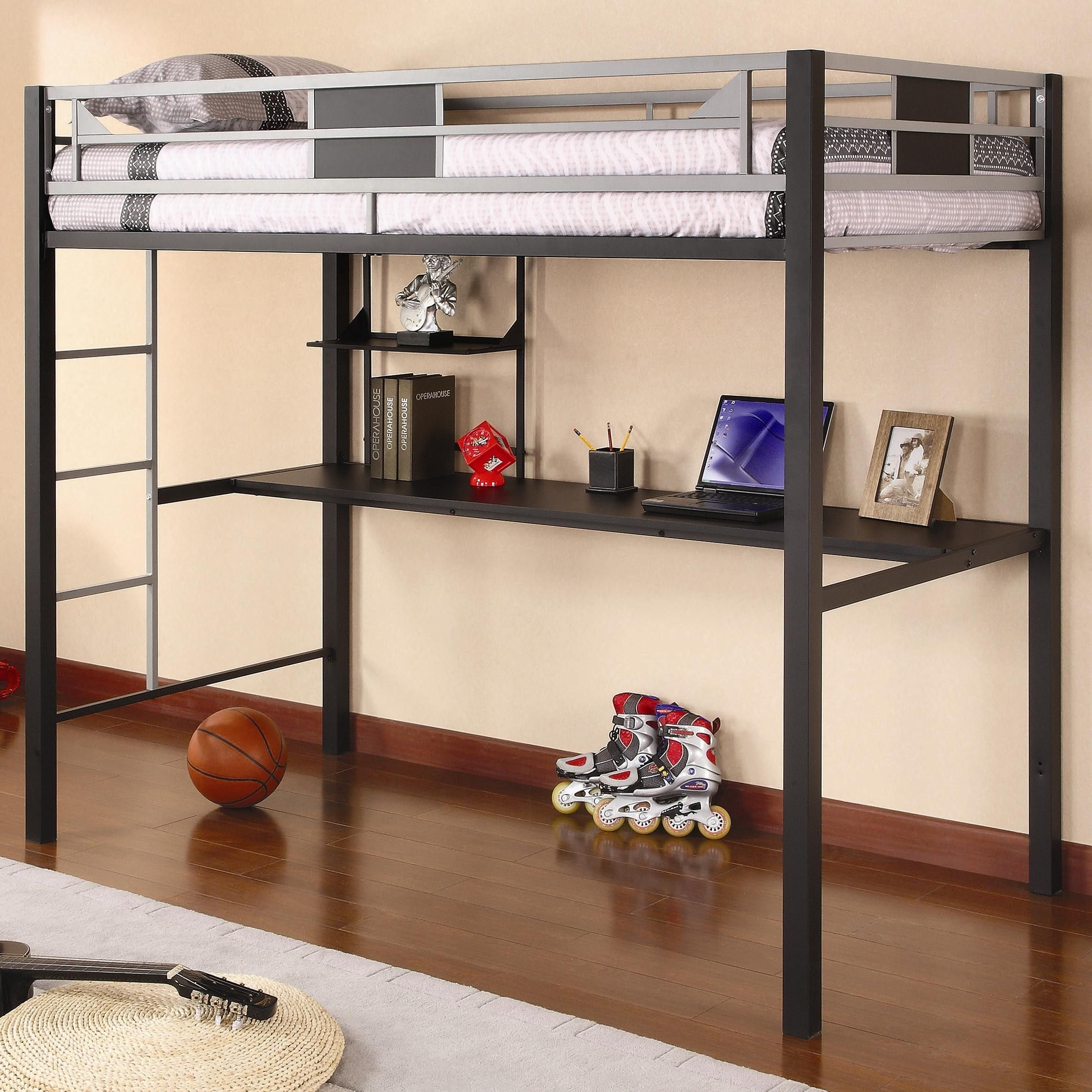 Furniture Black Metal Loft Bed With Computer Desk best