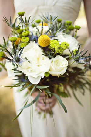 thistle and billy ball bouquet