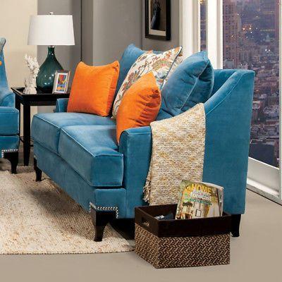 Furniture Of America Viscontti Retro Style Peacock Blue Finish