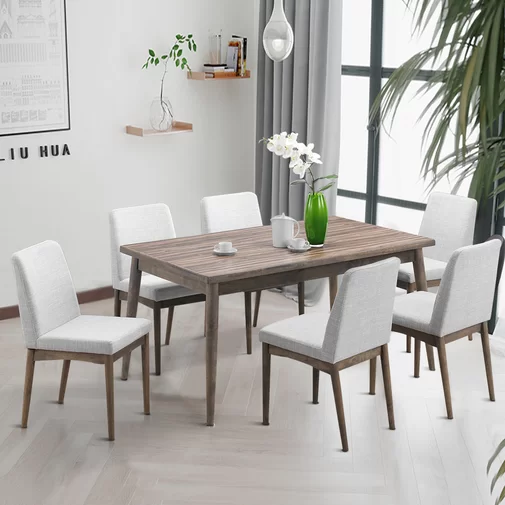 Ebel 7 Piece Dining Set Dining Table Mid Century Dining Table Upholstered Dining Chairs