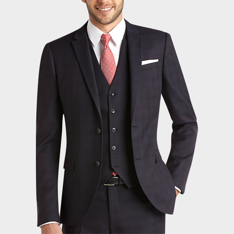 Egara Blue Plaid Extreme Slim Fit Vested Suit - Slim Fit (Extra ...
