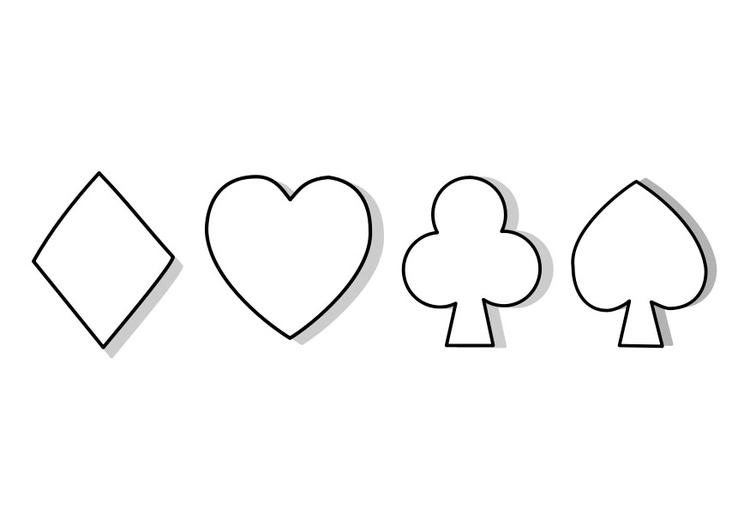 Dibujo Para Colorear Simbolos De La Baraja En 2020 Simbolos Cartas Para Imprimir Tatuajes Retro