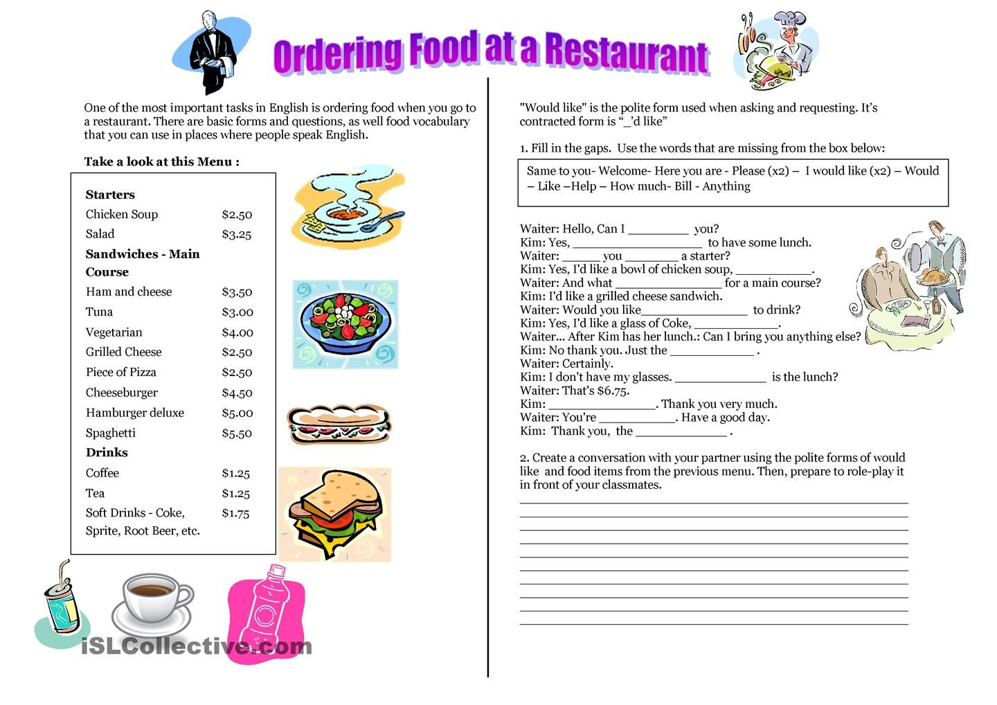 Ordering Food In Spanish Worksheet