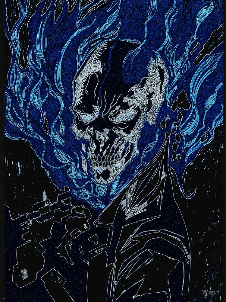 Spirit of Vengeance (Blue Flames) | Slim Fit T-Shirt ...