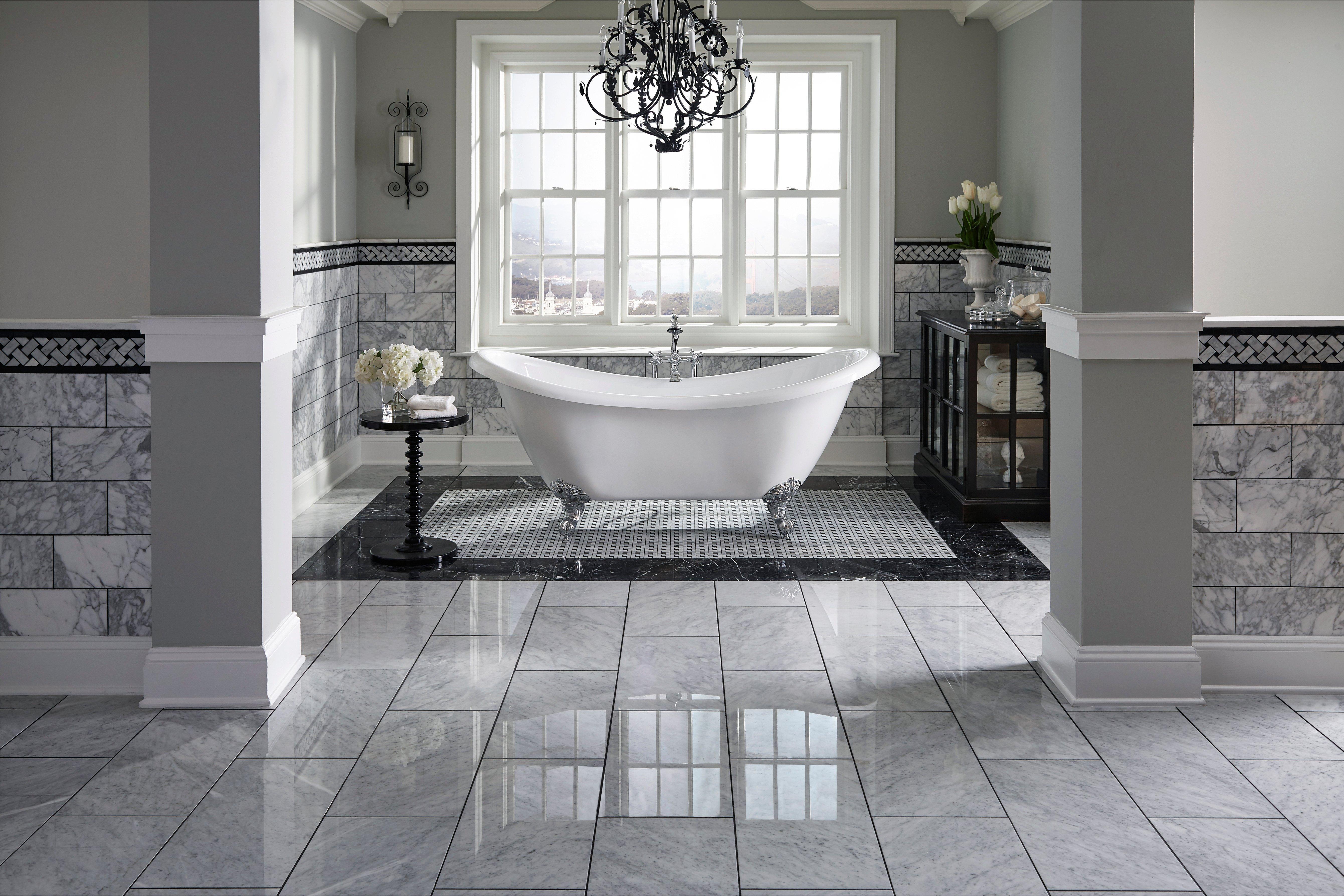 Carrara Marble Bianco Tile 12 X 24 White 5 8 Inch 16 Mm Thick Floor Decor In 2021 Amazing Bathrooms Modern Master Bathroom Bathroom Design