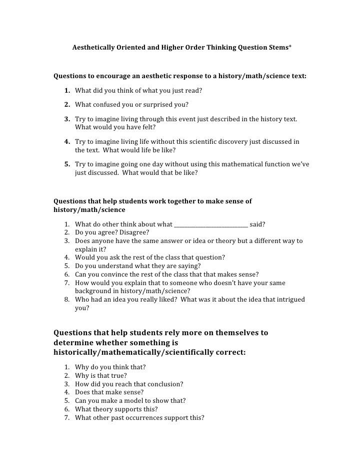 HOT question stems | Education that I love | Pinterest