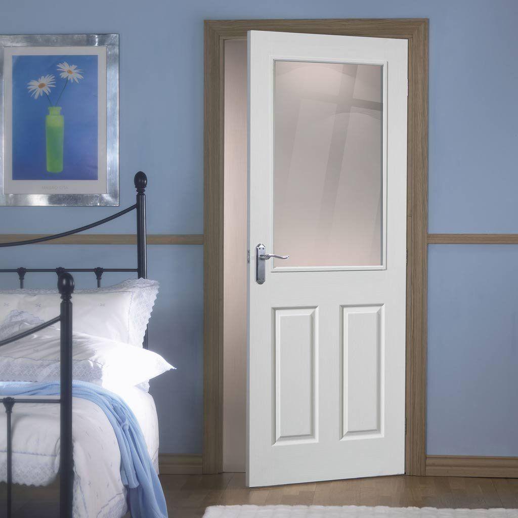Moulded 2 Panel 1 Pane Clear Glass White Primed White Interior Doors White Internal Doors Shaker Interior Doors