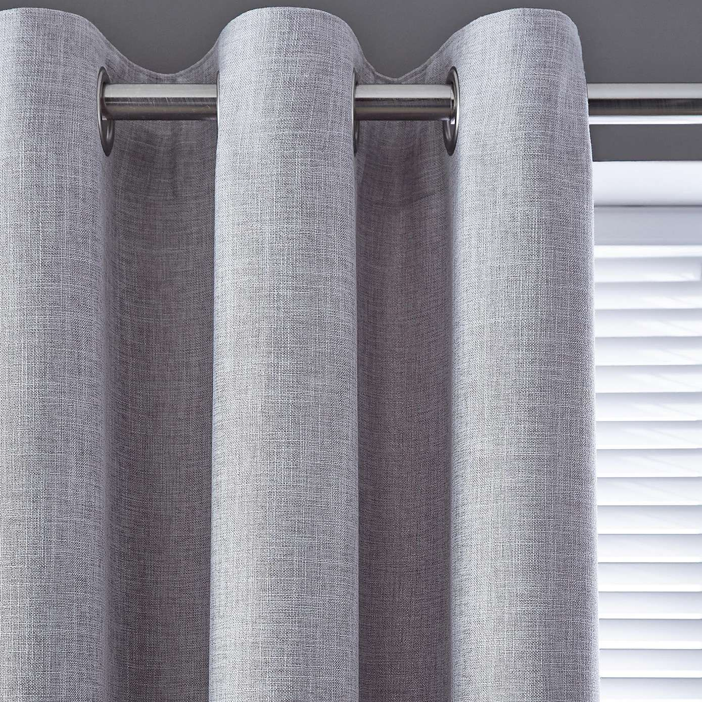 Vermont Dove Grey Lined Eyelet Curtains In
