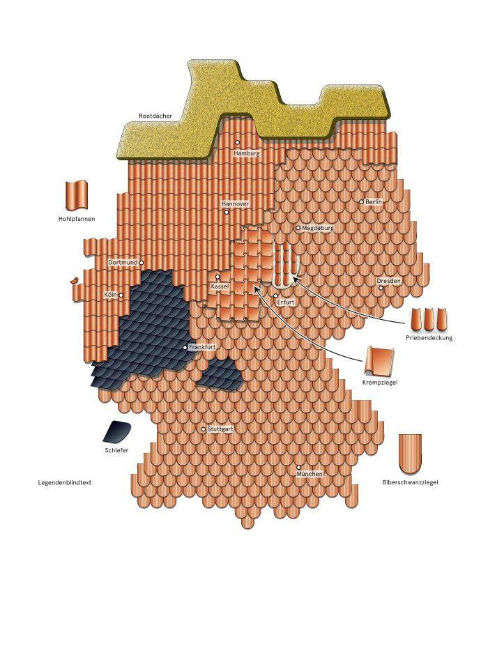 Traditionelle Dacher Deutschlandkarte Karte Deutschland Architektur Diagramme