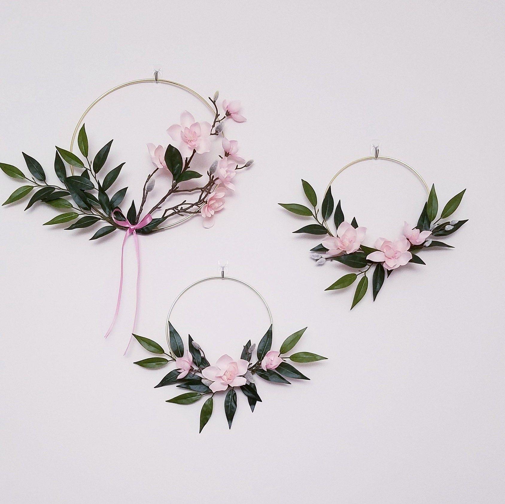 Photo of Modern Wreath Set, Nursery Hoop Wreaths, Magnolia Wreaths, Pale Pink Nursery