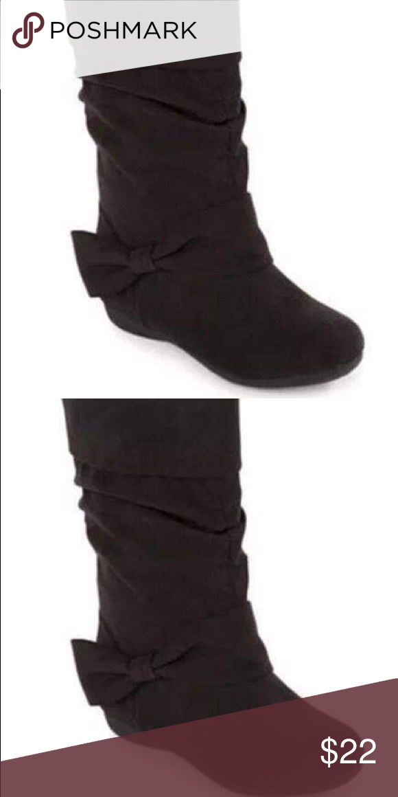 51c0562ee95c Okie Dokie Toddler Girls Black Faux Suede Boots NEW Okie Dokie Toddler Girls  Shayla Black Faux Suede Ruched Bow Boots Size 6 Brand new in box! okie dokie  ...