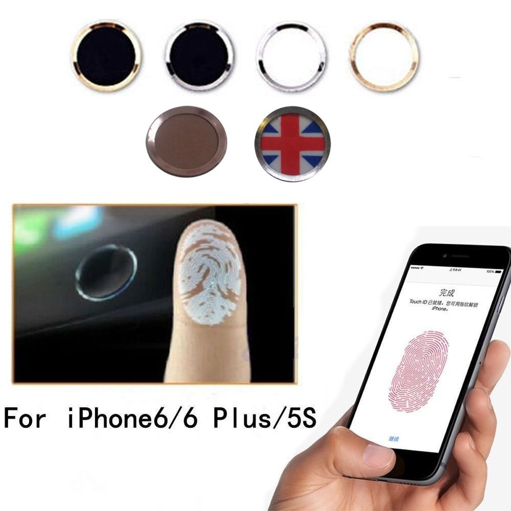 Aluminium Fingerprint Support Touch ID Home Button Sticker For iPhone 5S 6  Plus in Mobile Phones   Communication b35ea615eb