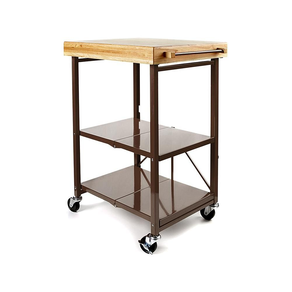Charmant Origami Folding Kitchen Island Cart With Casters   Bronze/Darkbronze
