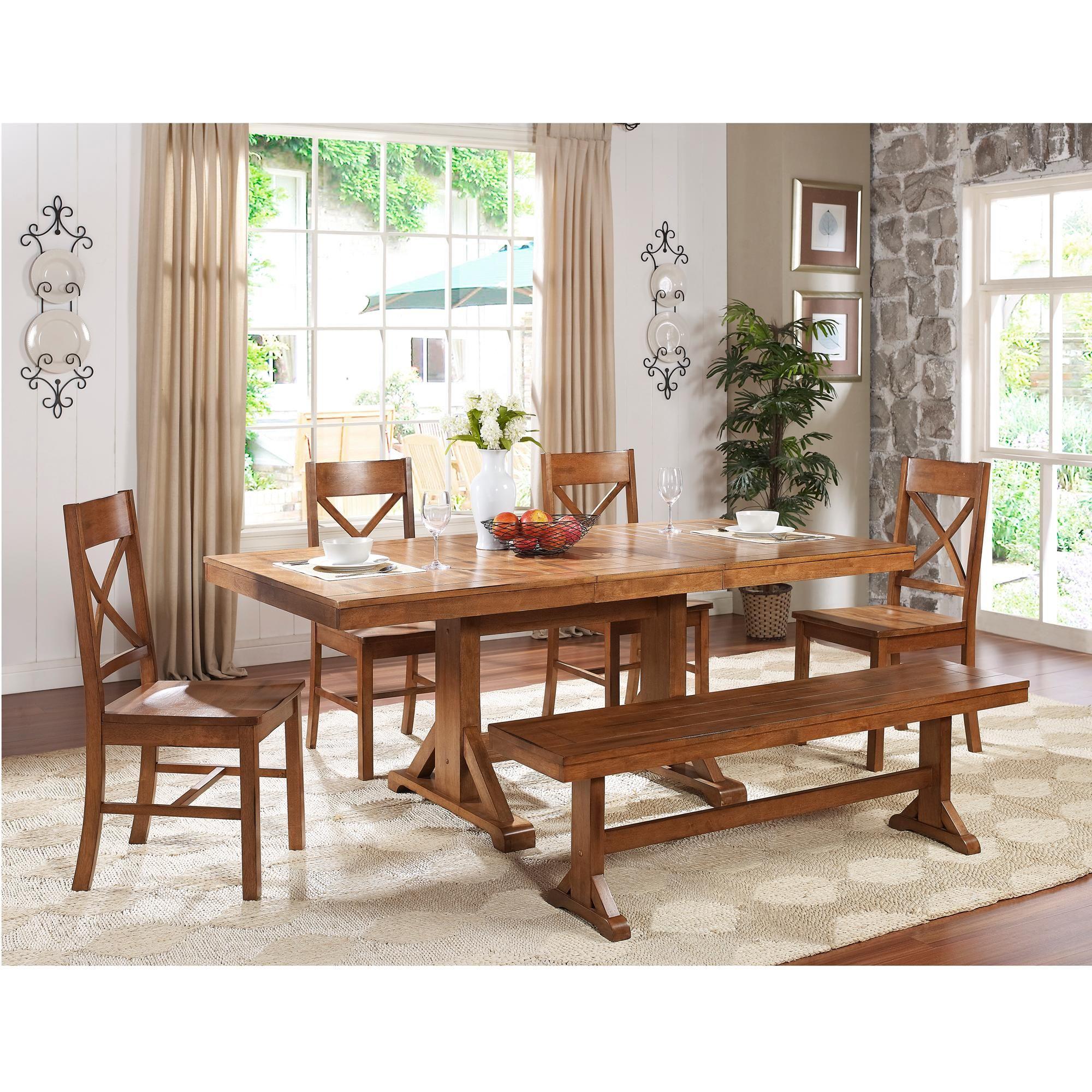 Amazon.com - 6-Piece Solid Wood Dining Set, Antique Brown ...