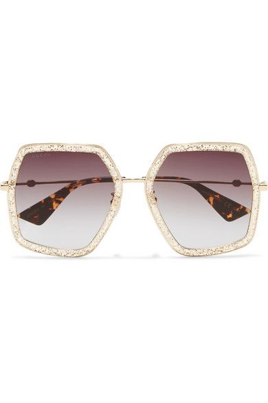 029402e3dee Gucci - Square-frame Glittered Acetate Sunglasses - Gold in 2019 ...