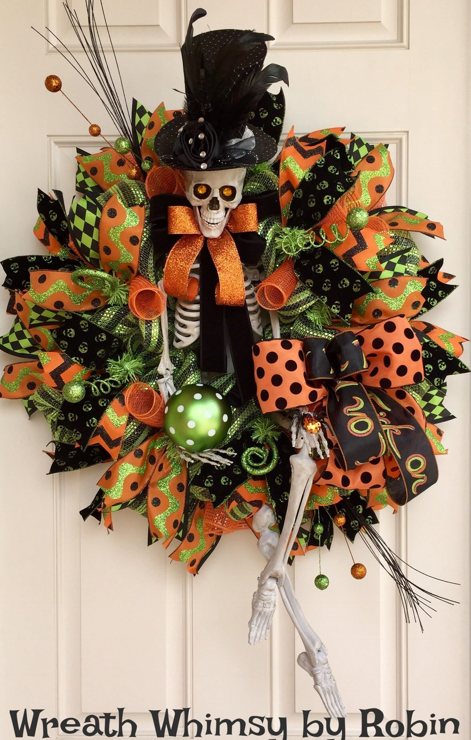 XL Halloween Deco Mesh Skeleton Wreath in Lime Green, Black  Orange - Whimsical Halloween Decorations
