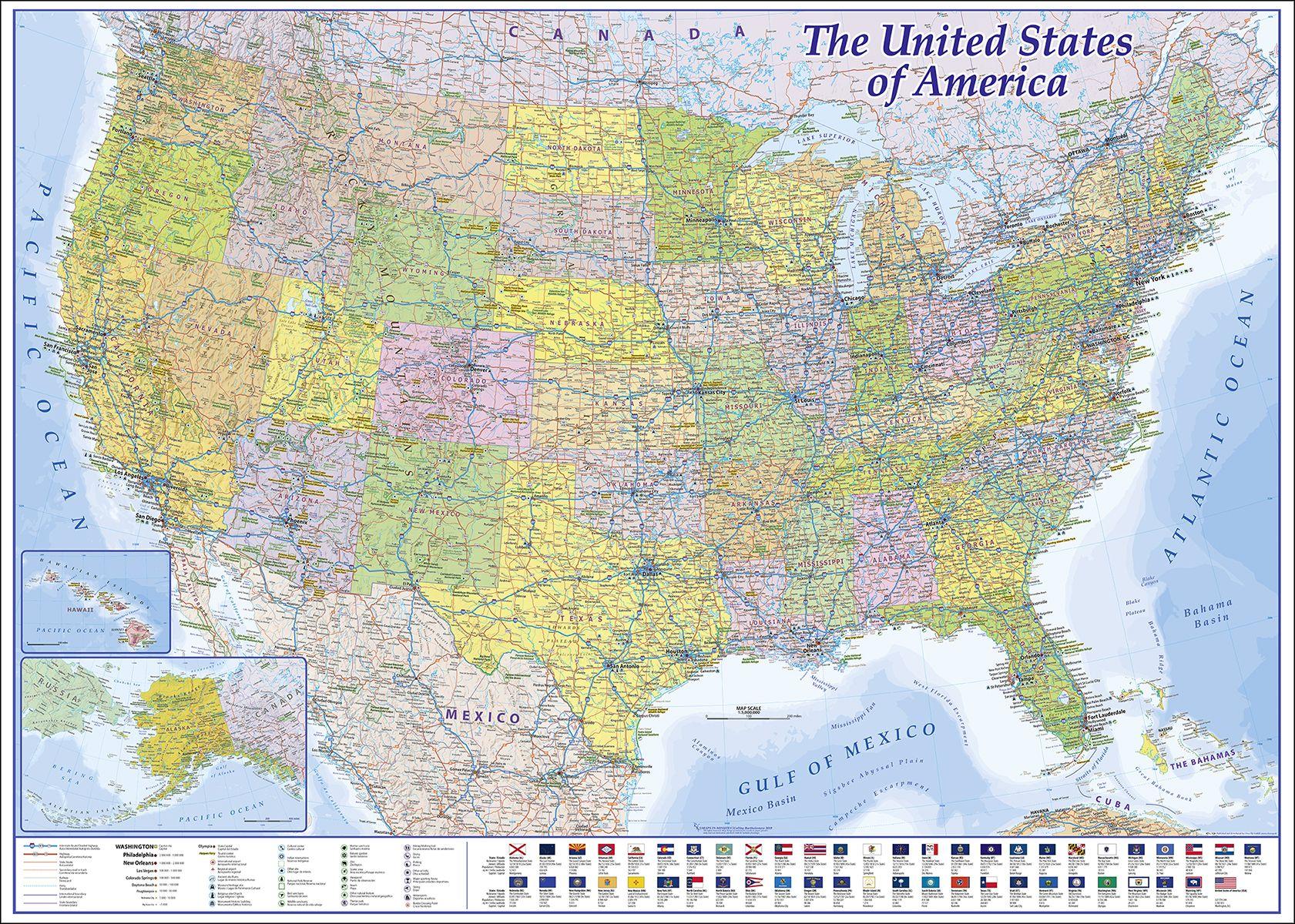 Usa Xxl Poster Amerika Karte Landkarte Und Poster