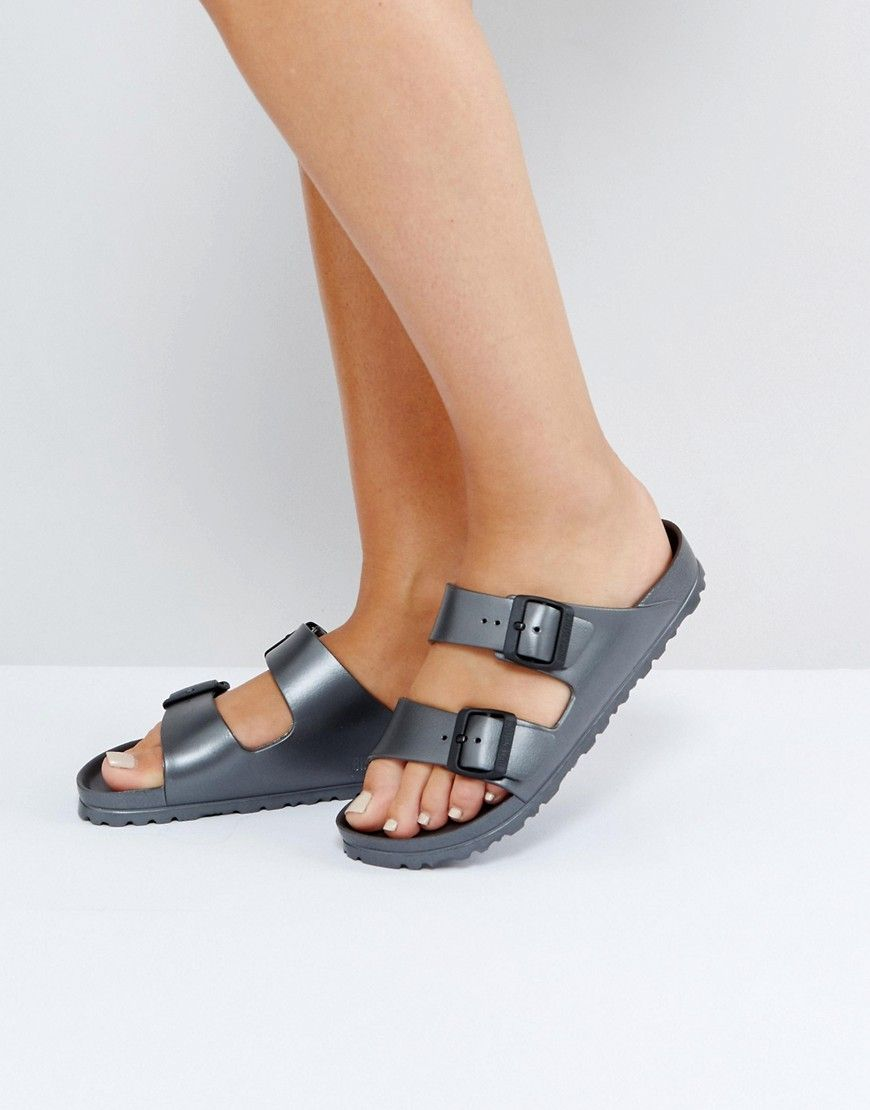 3c65c71fb6fd BIRKENSTOCK ARIZONA METALLIC ANTHRACITE EVA FLAT SANDALS - GRAY.   birkenstock  shoes