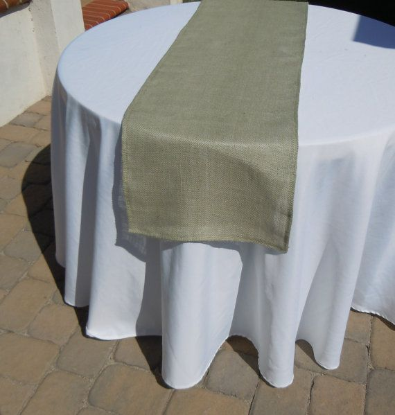 Burlap Table Runner Sage Green Burlap Wedding By LolaRoseDesigns, $12.00