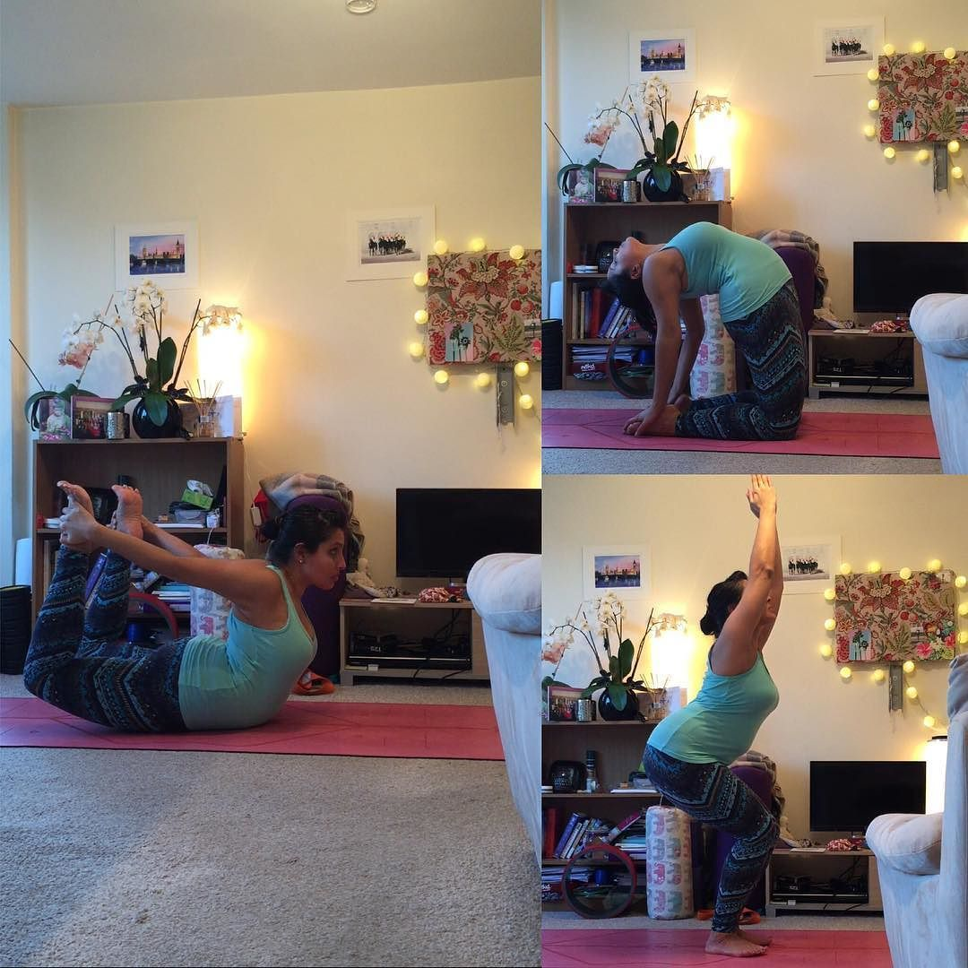 I'm doing some catching up for #SpringIntoHeadstands with Day 4 5 & 6 all rolled into one. #dhanurasana #ustrasana & #utkatasana I've had a crazy weekend and week so far and it meant I haven't been able to practice for nearly 3 days - so I was very happy
